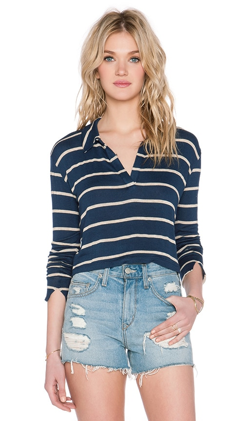 LNA Collar Crop Sweater in Navy & Lino Stripe