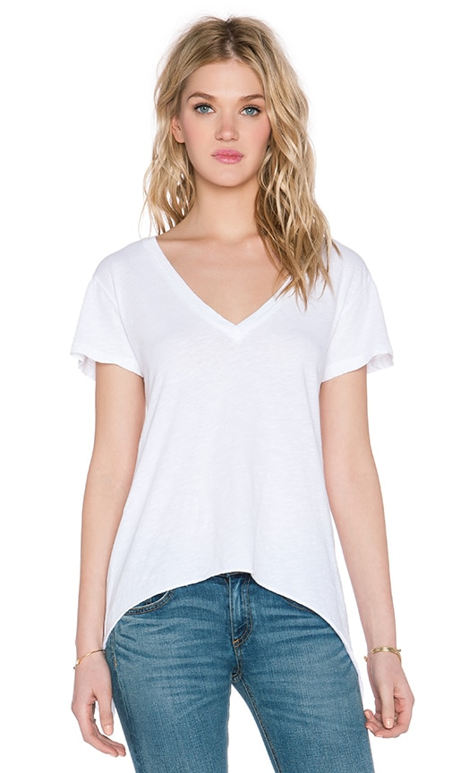 LNA Side Tail Deep V Tee in Solid White