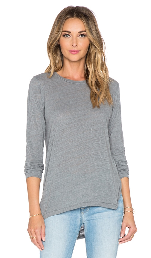 LNA Ara Long Sleeve Tee in Off Black