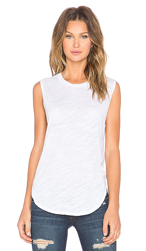 LNA Curved Muscle Tank in White
