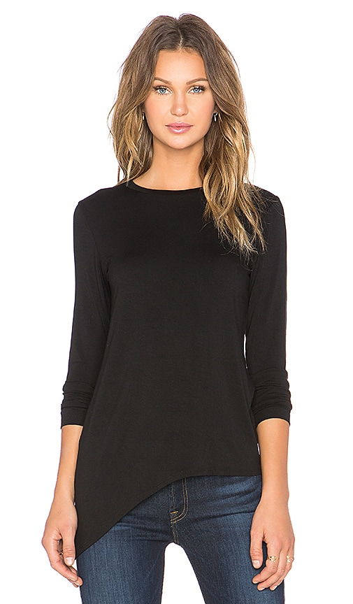 LNA Slant Hem Long Sleeve Tee in Black