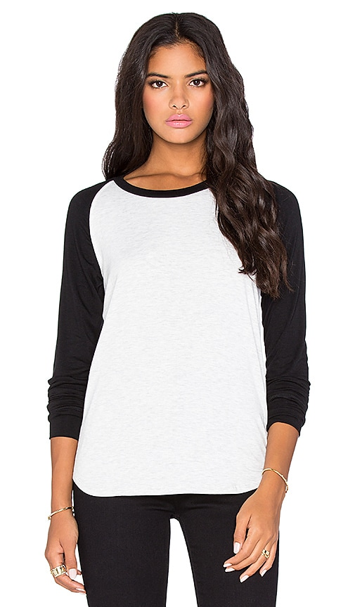LNA Vintage Baseball Long Sleeve Tee in Ash & Black