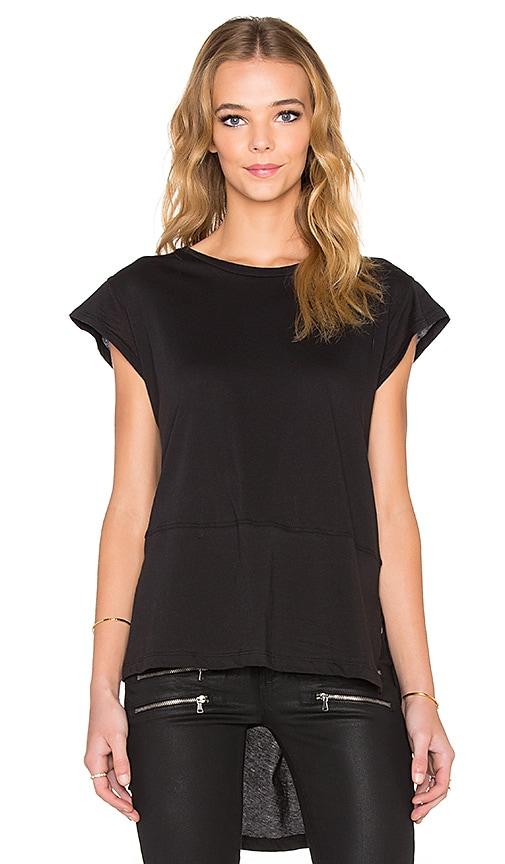 LNA Cap Sleeve Tunic Tee in Black