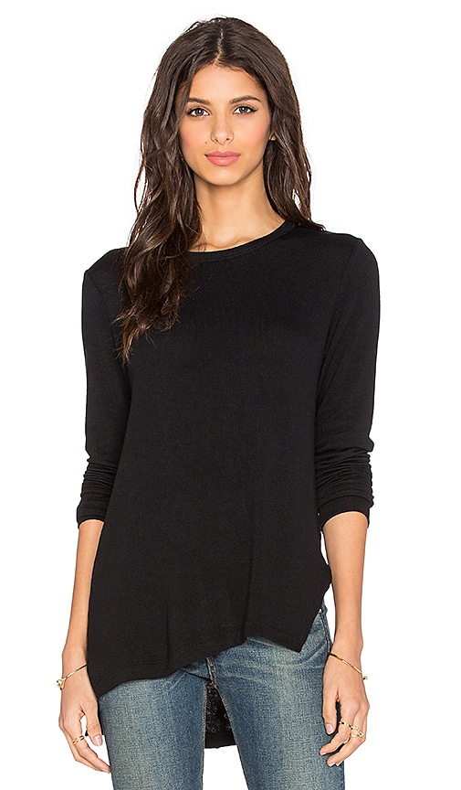 LNA Niia Ribbed Long Sleeve Tee in Black