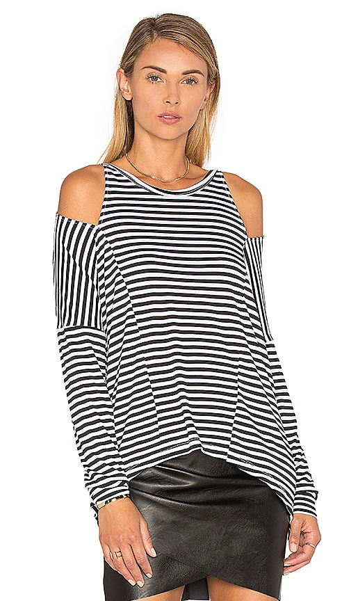 LNA Striped Slice Top in Black