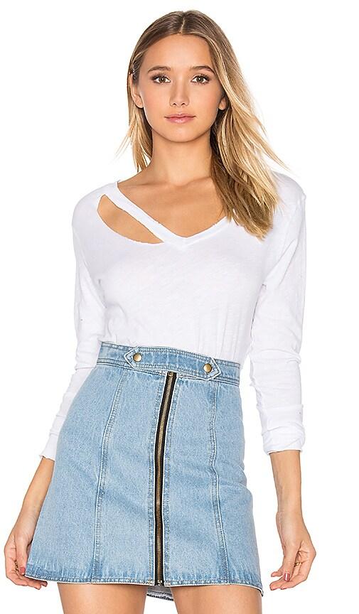 LNA Fallon Long Sleeve Top in White