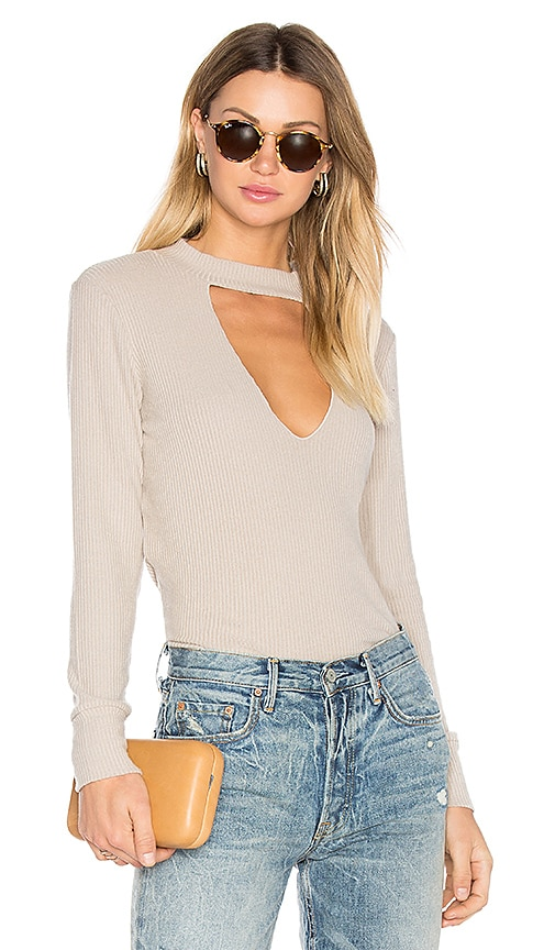 LNA Bardot Long Sleeve Tee in Beige