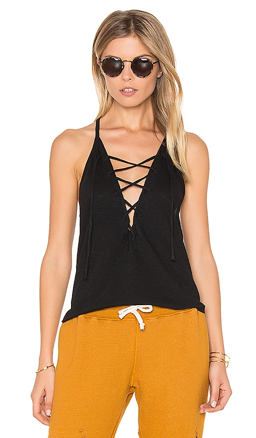 LNA Lace Up Tank in Black