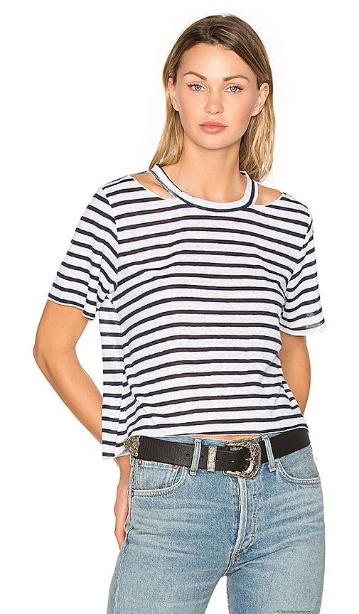 LNA Stripe Cut Out Crop Tee in Navy