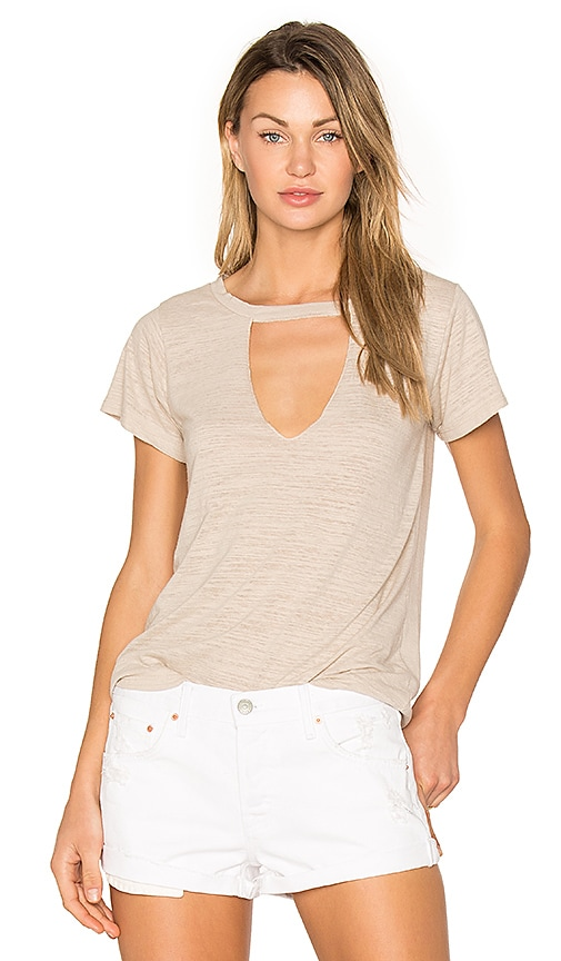 LNA Short Sleeve Cut Out V Tee in Taupe