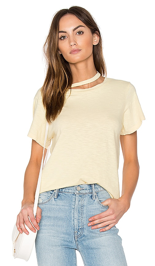 LNA Double Neck Band Tee in Yellow