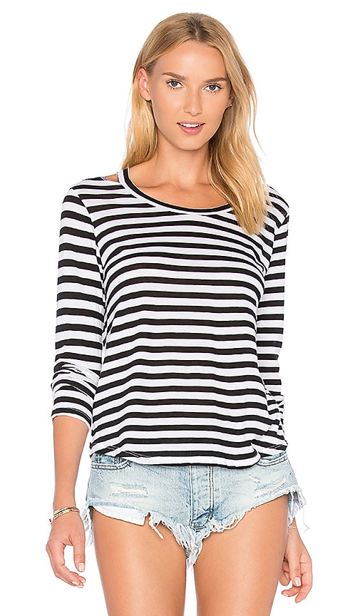 LNA Stripe Bolero Long Sleeve Tee in Black & White