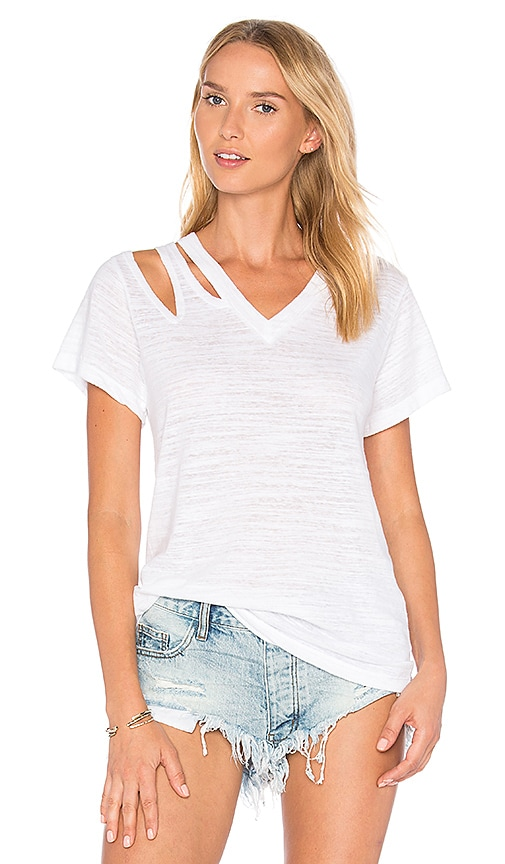 LNA Pine Cut Out Tee in White