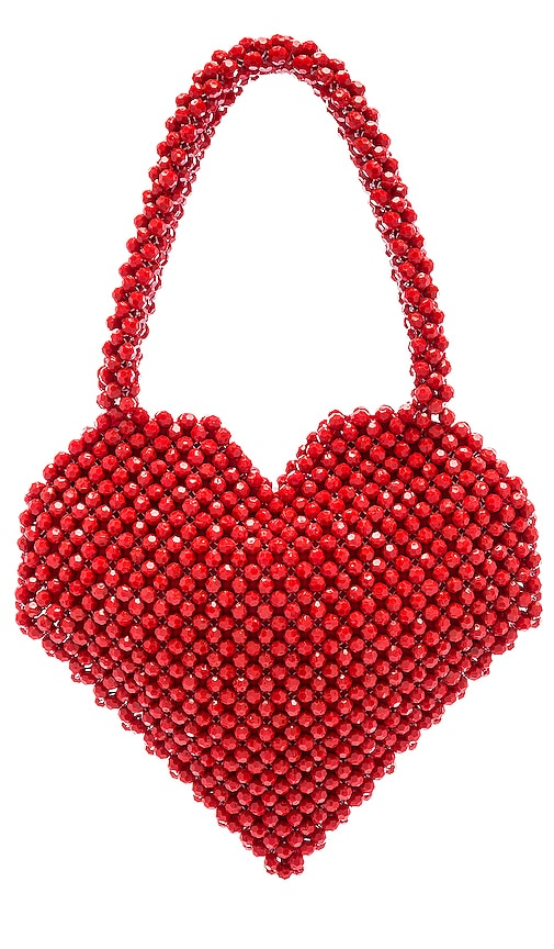 Loeffler Randall Maria Beaded Heart Tote in Red | REVOLVE