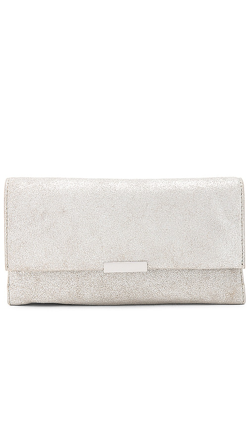 Loeffler Randall Tab Clutch in Metallic Silver