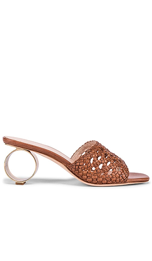Woven Sandal With Metal Circle Heel