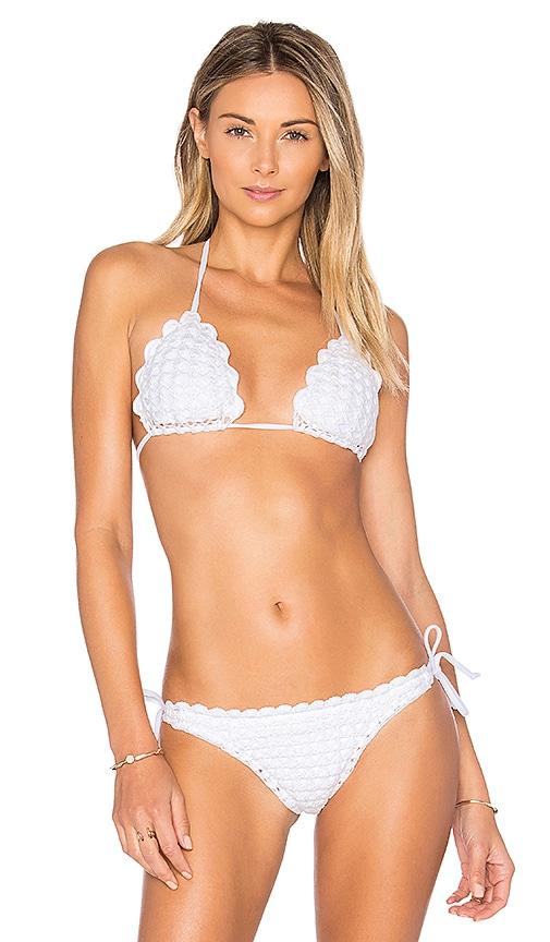 lolli swim Seashell Bikini Top in White