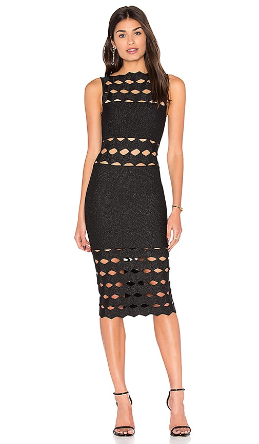 LOLITTA Helena Cut Out Midi Dress in Black