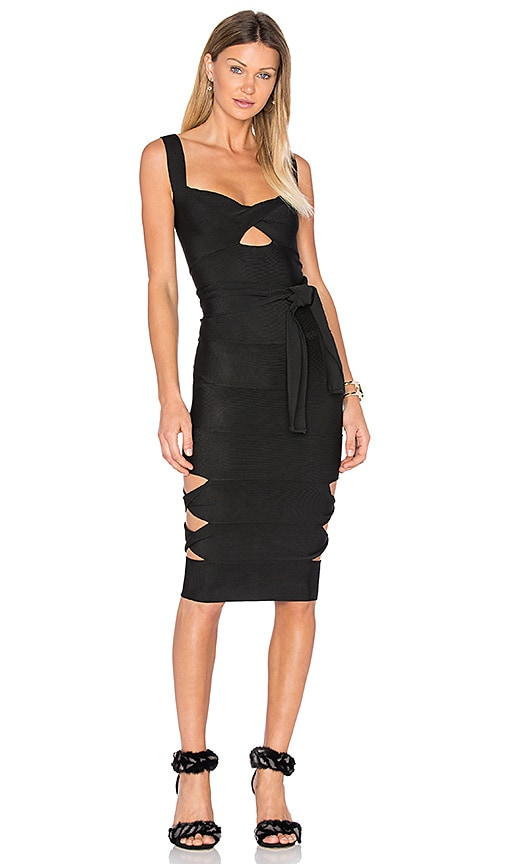 LOLITTA Sophia Cut Out Midi Dress in Black