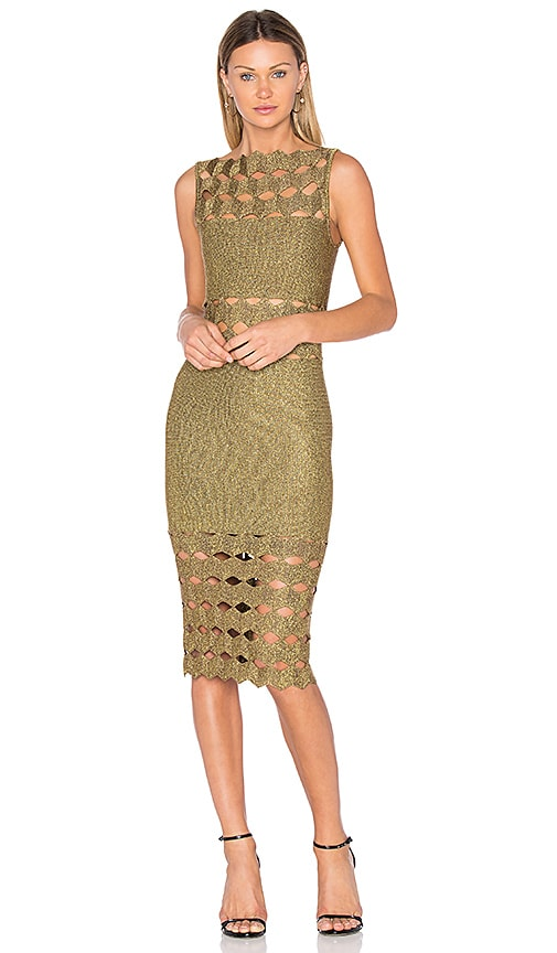 LOLITTA Helena Cut Out Midi Dress in Metallic Gold