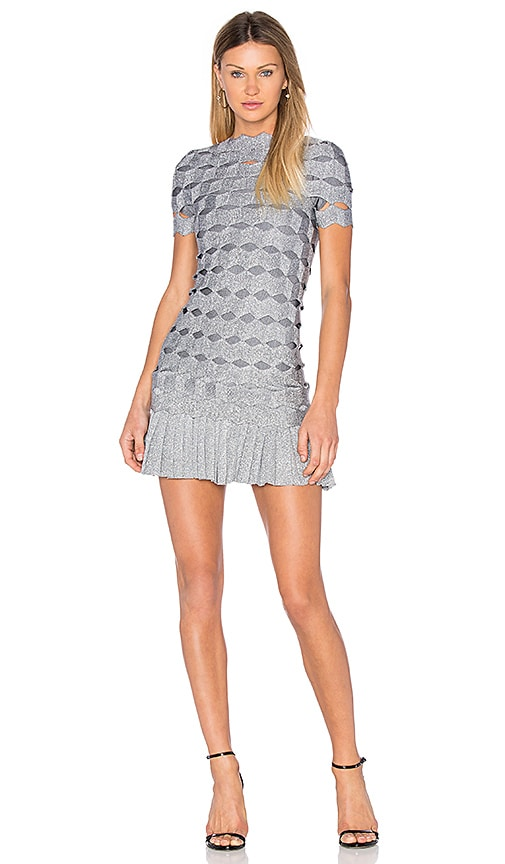LOLITTA Joana Zig Zag Mini Dress in Metallic Silver