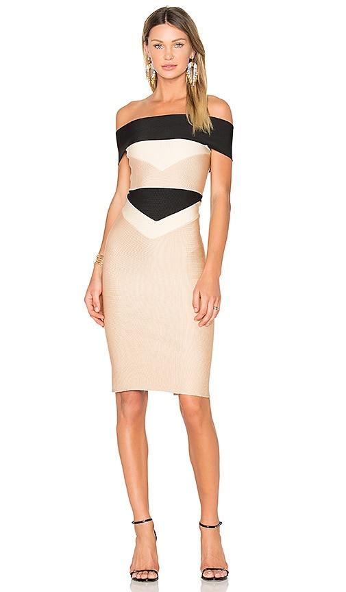 LOLITTA Estella Off the Shoulder Midi Dress in Black