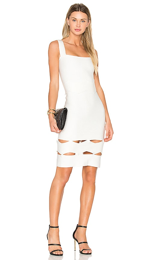 LOLITTA Livia Zig Zag Midi Dress in White