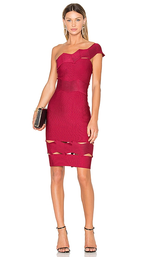 LOLITTA Livia One Shoulder Fitted Dress in Red