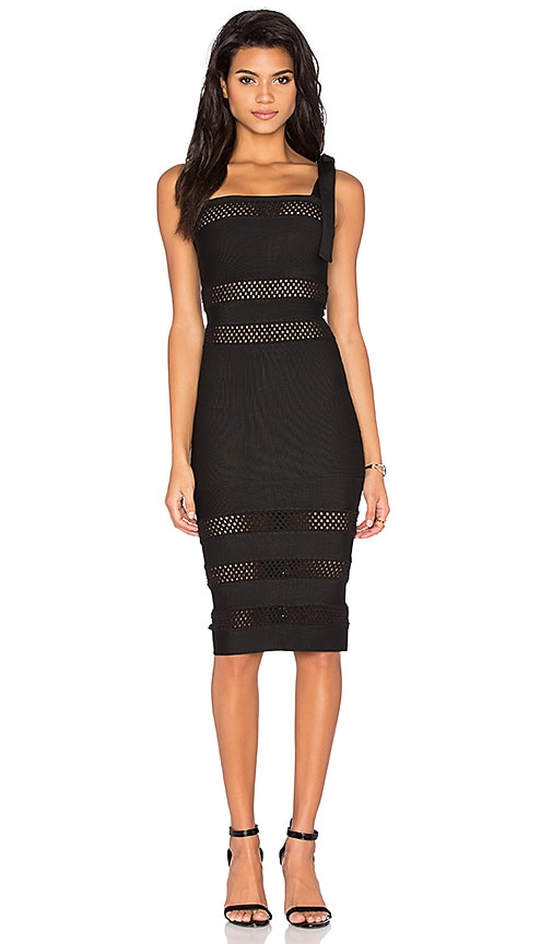 LOLITTA Mesh Cutout Midi Dress in Black