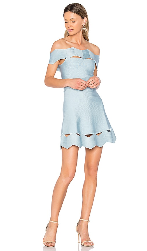 LOLITTA Livia Zig Zag Fit and Flare Dress in Baby Blue