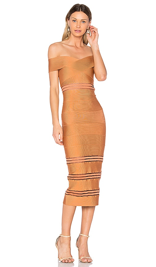LOLITTA Sophie Off the Shoulder Midi Dress in Rust
