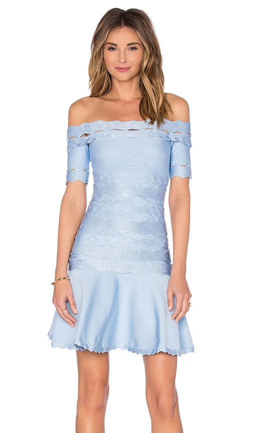 LOLITTA Squiggle Detail Flare Mini Dress in Blue