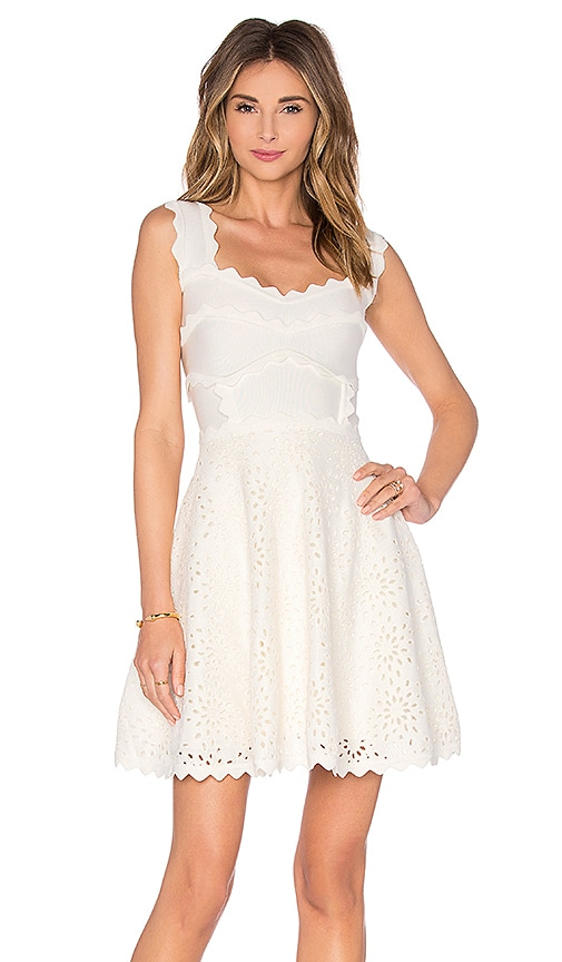 LOLITTA Scallop Detail Mini Dress in Off White