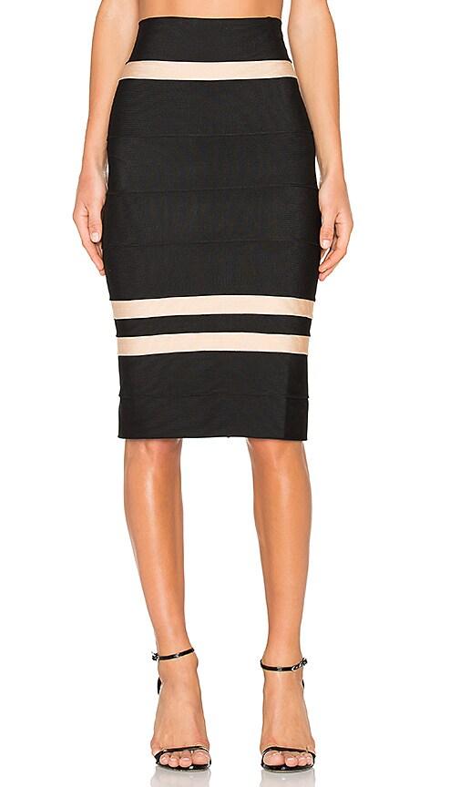 LOLITTA Clara Fitted Midi Skirt in Black