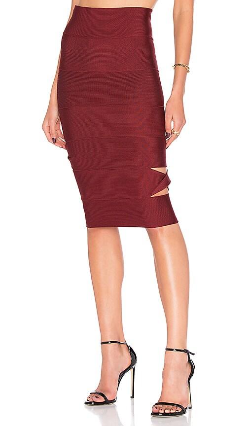 LOLITTA Sophia Cut Out Midi Skirt in Burgundy