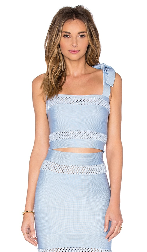LOLITTA Mesh Cutout Crop Top in Light Blue
