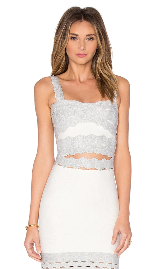 LOLITTA Scallop Crop Top in Off White & Silver