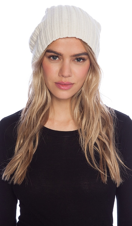 Carly Beanie with Rabbit Fur Pompom