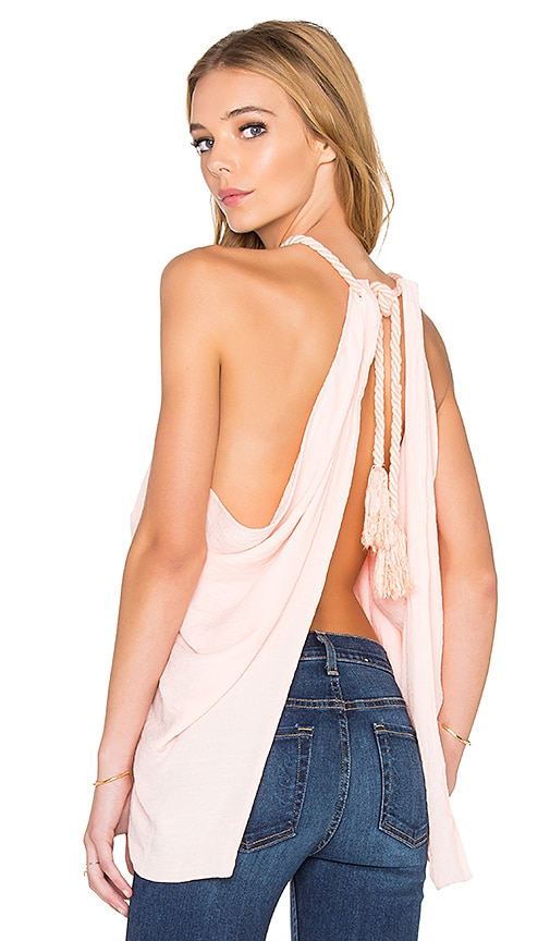 Le Salty Label Echo Open Back Top in Pale Pink