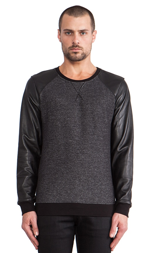 Leather Sleeve Sweatshirt