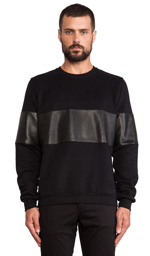 Leather and Cotton Sweatshirt