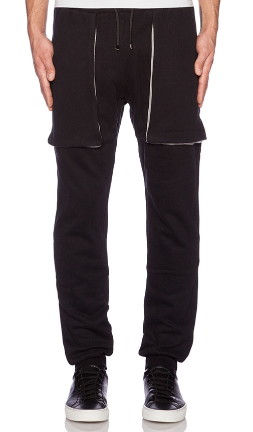 lot78 Basic Sweatpant in Black & Light Grey