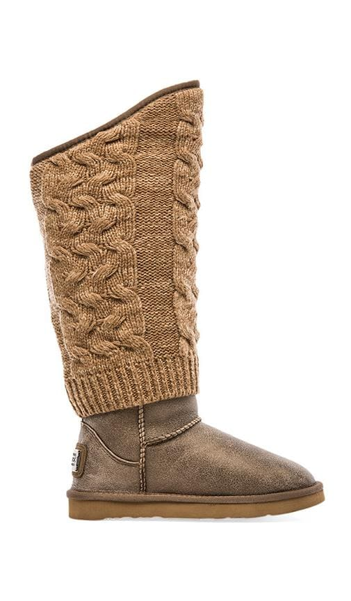 Fame Metallic Tall Boot with Sheepskin
