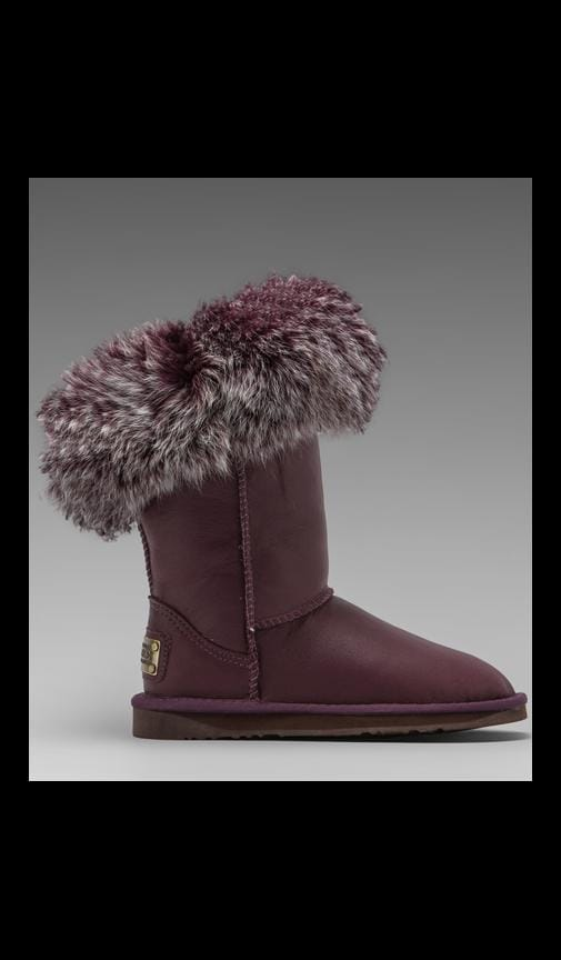 Foxy Short Boot with Raccoon Fur Trim