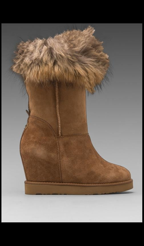 Foxy Wedge Boot with Asiatic Raccoon Fur