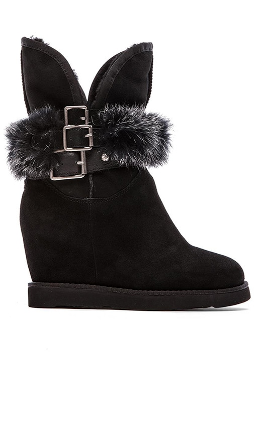 Australia Luxe Collective Hatchet Wedge Boot with Rabbit Fur in Black