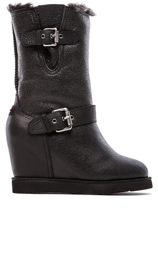 Australia Luxe Collective Machina Wedge Boot in Crocodile Black