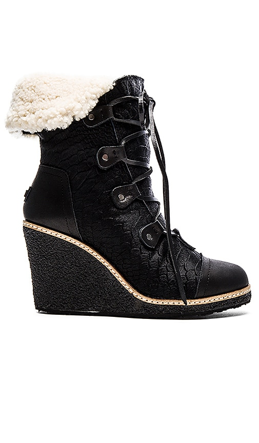 Australia Luxe Collective Mona Wedge Boot With Sheep Fur in Black Leather & Pony Skin