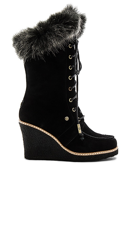 Australia Luxe Collective Mandinka Boot with Faux Fur Cuff in Black