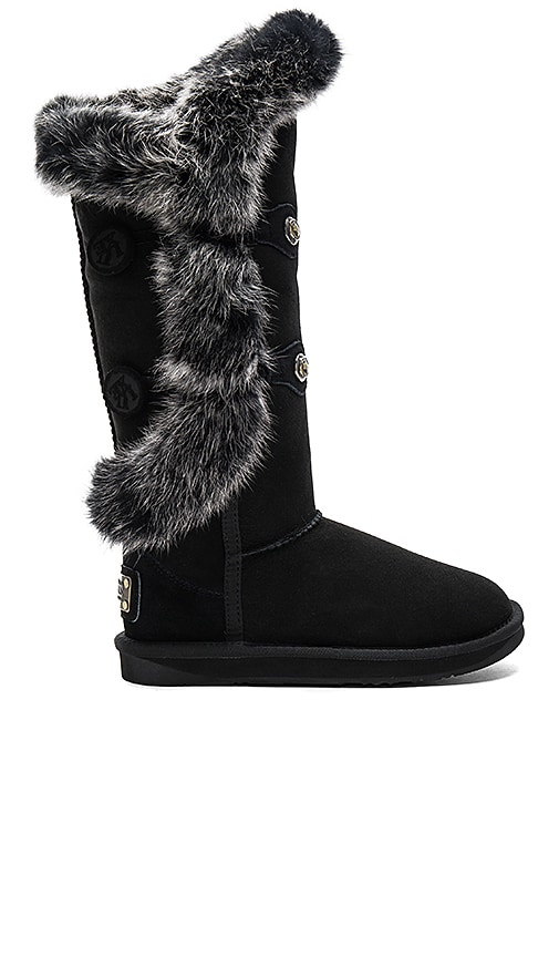 Australia Luxe Collective Nordic Angel X Tall Rabbit Fur and Shearling Boot in Black